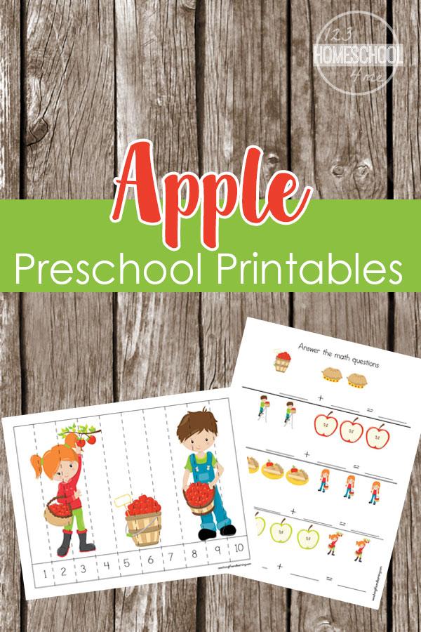 Apple Preschool Printables