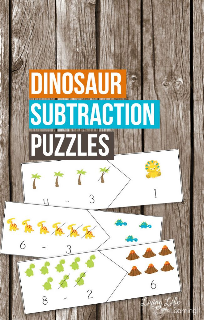 Dinosaur Subtraction Puzzles