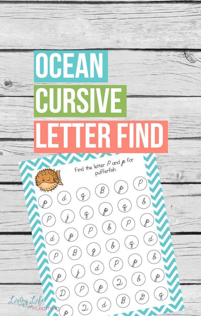 Ocean Cursive Letter Find Printable