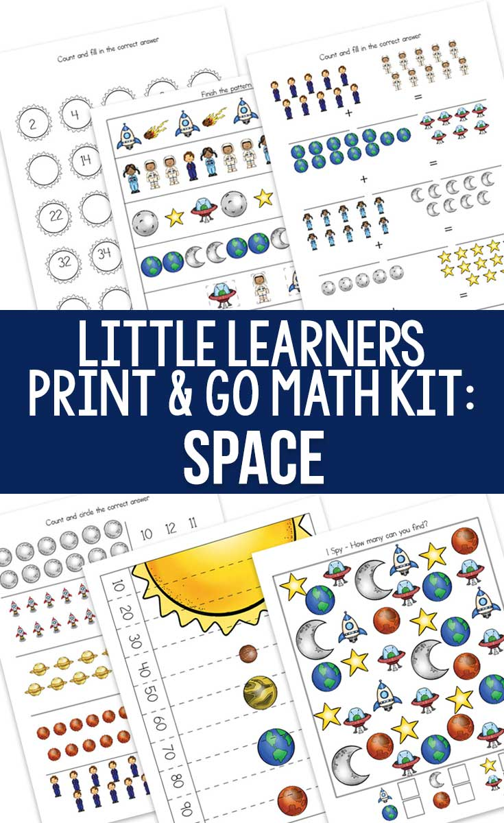 Little Learners Print and Go Math Kit: Space