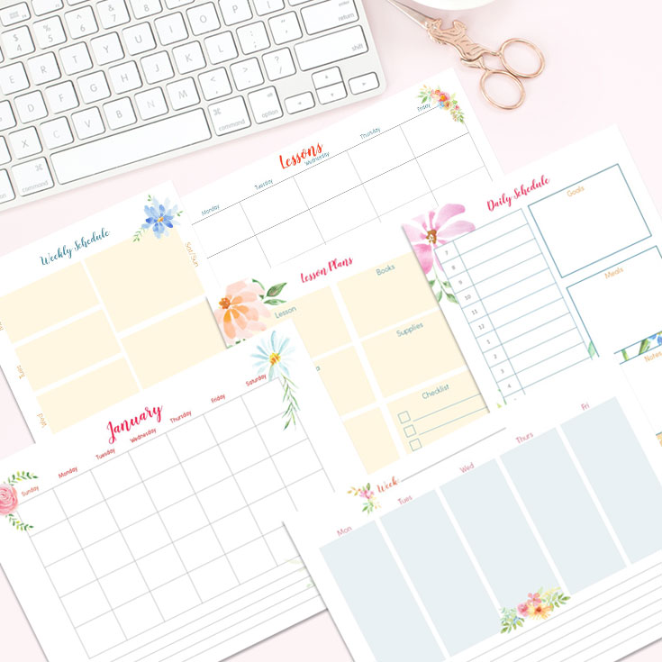 floral lesson planner and templates