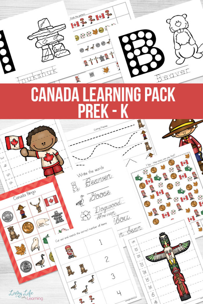 Use the Canada Learning Pack to teach your preschooler and kindergarten student about Canada in a fun and engaging way from math to writing.