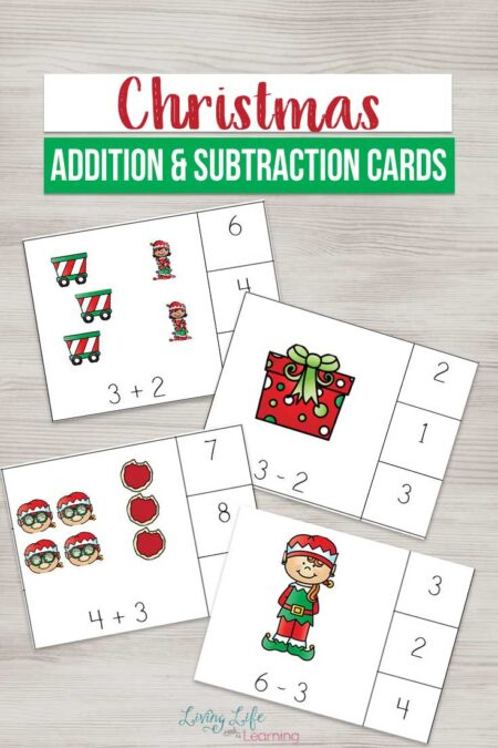Make learning math fun with these cute Christmas addition and subtraction cards for easy math practice with tons of fun at the same time.