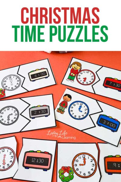 Use these fun printable Christmas time puzzles to teach time on the hour, half hour and 5 minute intervals and your child will master telling time in no time. #time #math #Christmas #homeschool