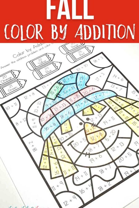 Fall color by addition worksheets
