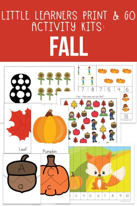 Little Learners print and go activity kit FALL