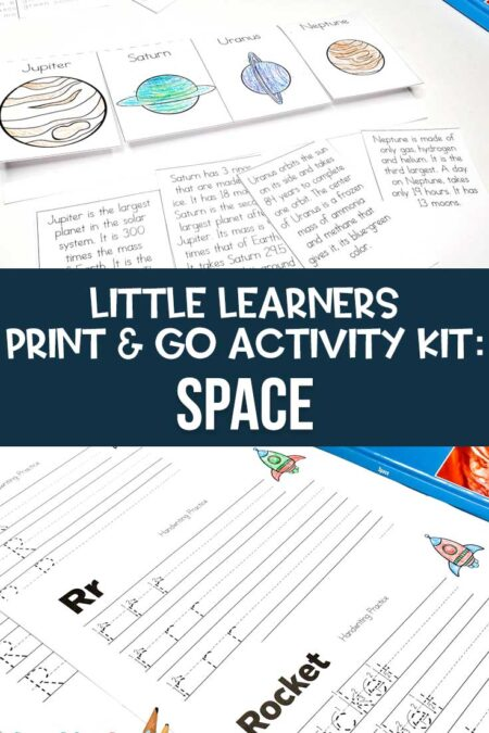 Little Learners print and go activity kit space