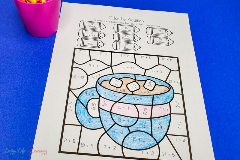 Winter color by addition worksheets