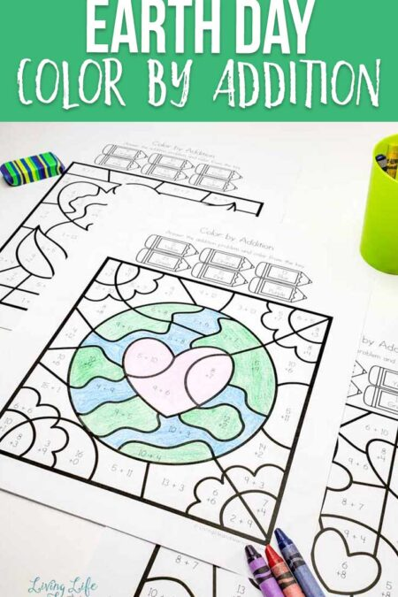 Earth Day Color by Addition Worksheets