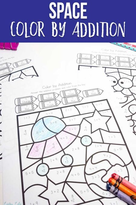 Space color by number addition worksheets
