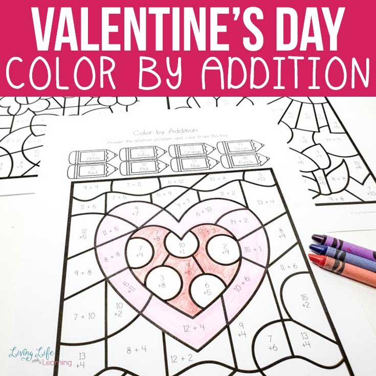 Valentine's Day Color by Addition Worksheets