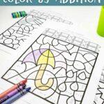 Spring Color by Addition Worksheets
