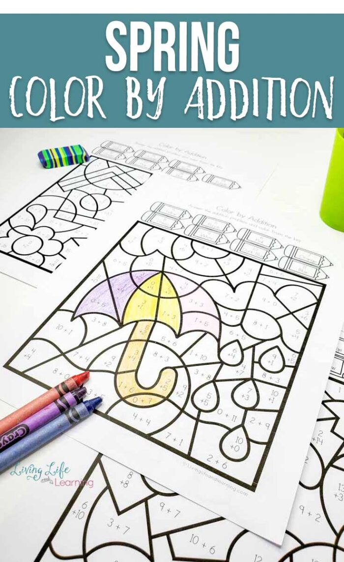 Spring Color by Addition Worksheets