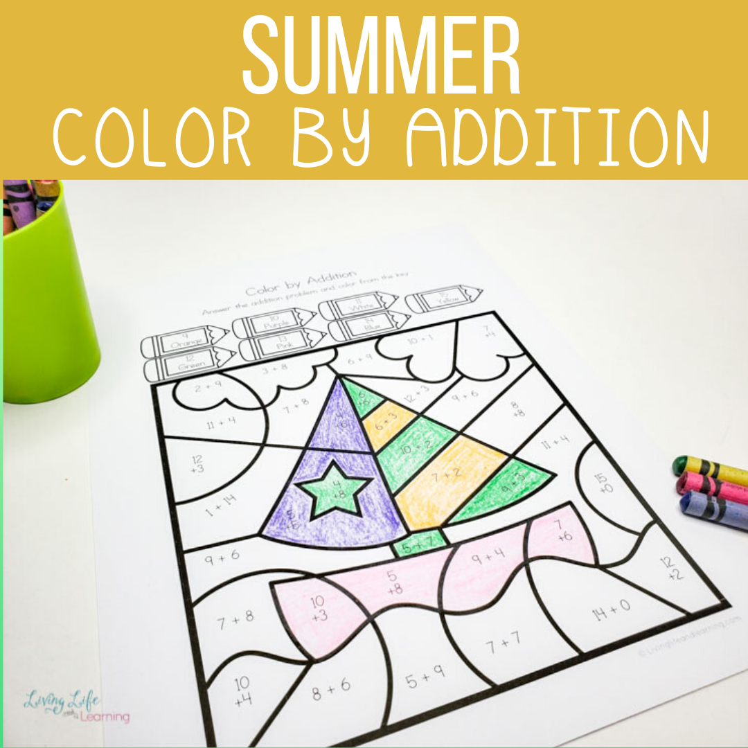 Summer Color by Addition Worksheets