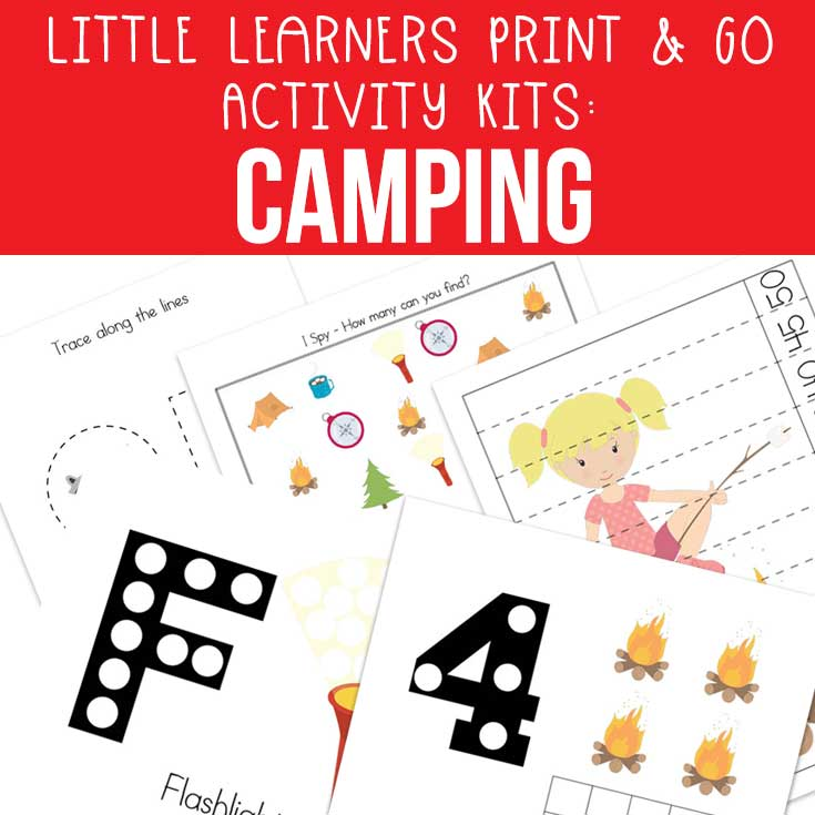 Little Learners Print & Go Activity Kit - Camping