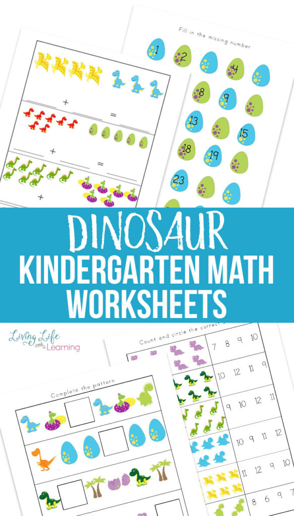Dinosaur Kindergarten Math Worksheets