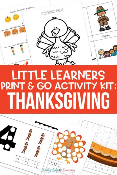 Little Learners print and go activity kit Thanksgiving