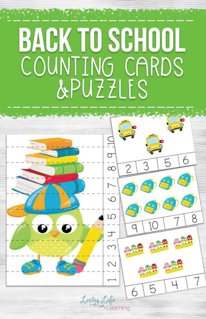 Back to School Counting Cards and Puzzles