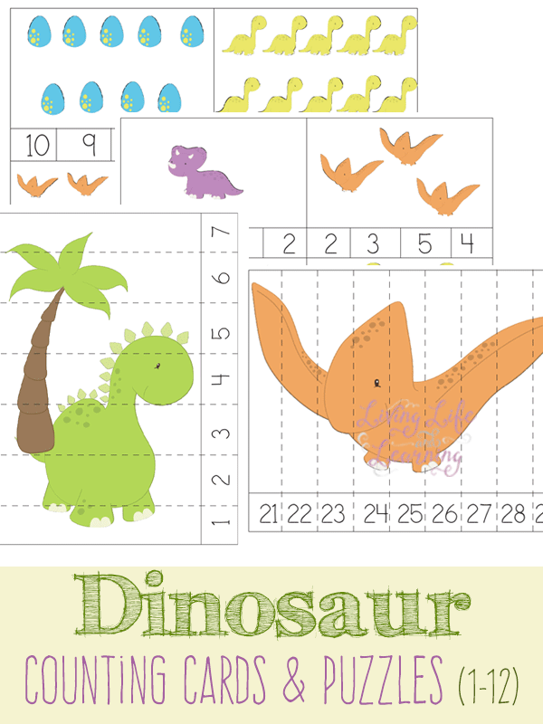 Dinosaur Counting Cards and Puzzles