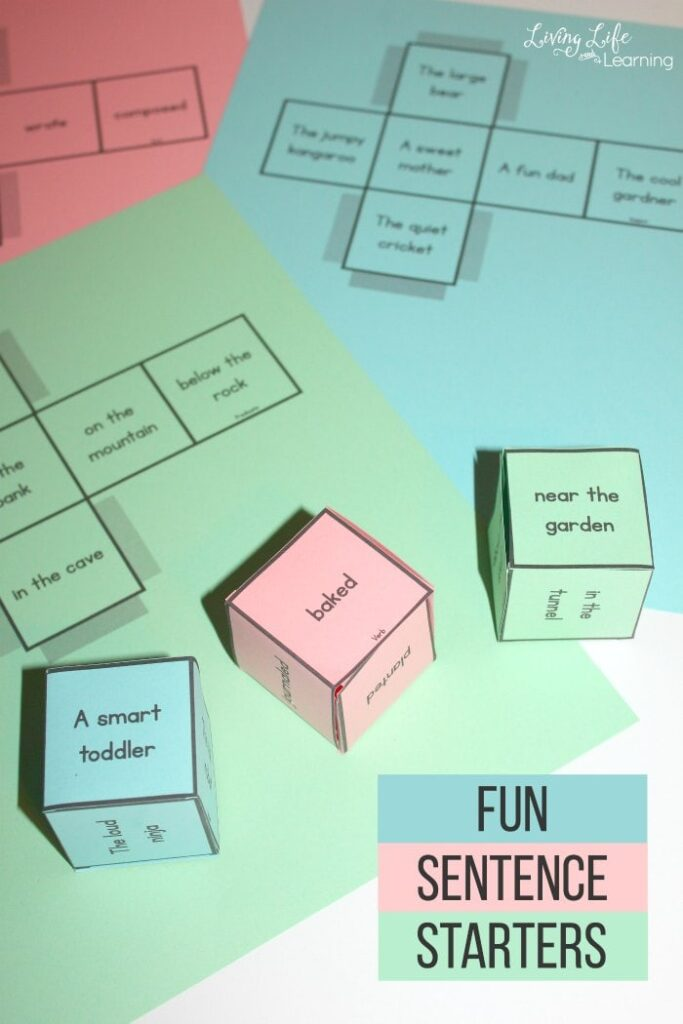 Fun Sentence Starters – Printable Dice Game