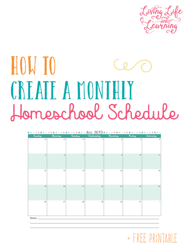 How to Create a Monthly Homeschool Schedule
