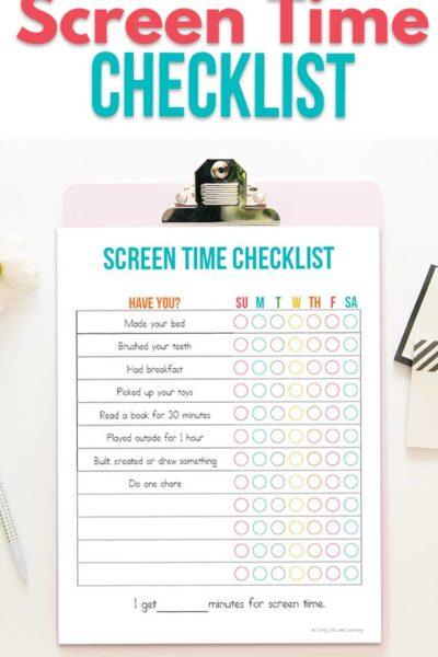 Summer Screen Time Checklist
